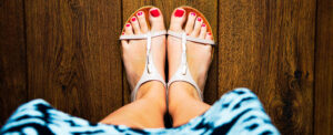 Photo of feet in sandals for a blog about I Don't Wear Sandals Anymore: Help for Unsightly Vein Conditions